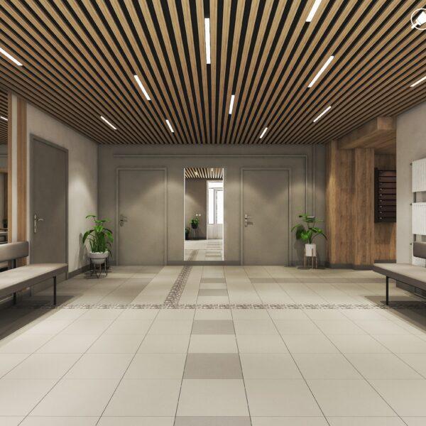 Дизайн интерьера холла жилого дома по пр. Науки, холл вид спереди