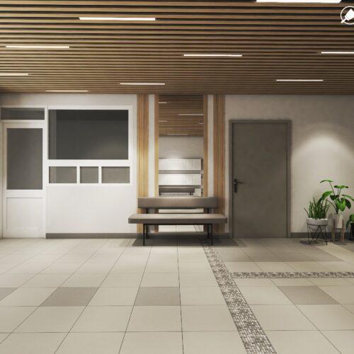 Дизайн інтер'єру холу житлового будинку по пр. Науки, хол вид зліва