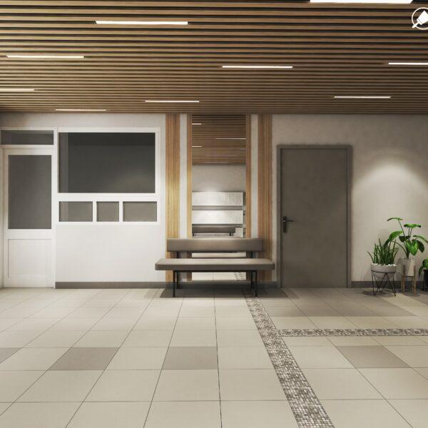 Дизайн интерьера холла жилого дома по пр. Науки, холл вид слева