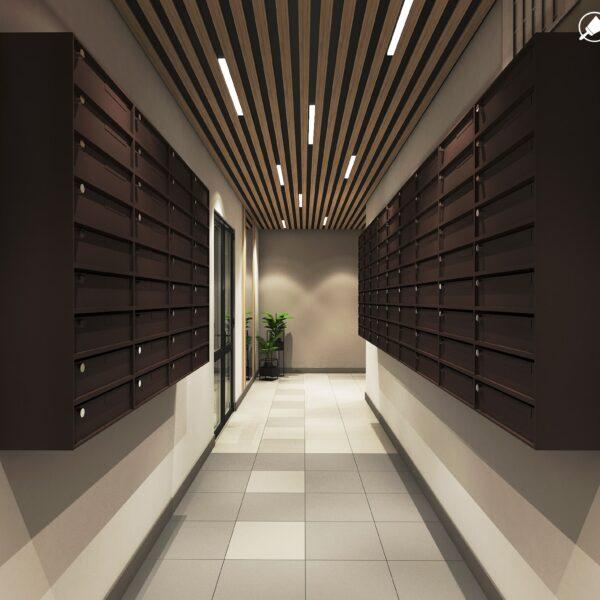 Дизайн интерьера холла жилого дома по пр. Науки, почтовая зона вид спереди