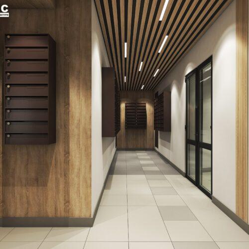 Дизайн інтер'єру холу житлового будинку по пр. Науки, поштова зона вид ззаду