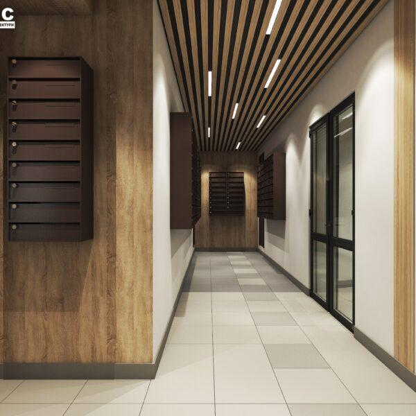 Дизайн интерьера холла жилого дома по пр. Науки, почтовая зона вид сзади