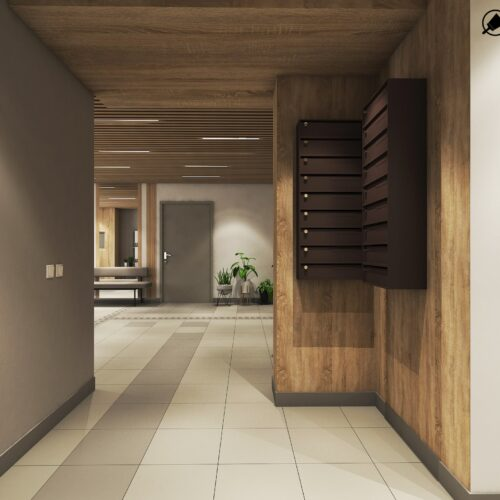 Дизайн інтер'єру холу житлового будинку по пр. Науки, вид на хол