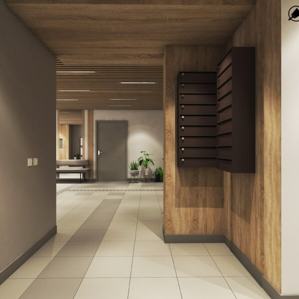 Дизайн интерьера холла жилого дома по пр. Науки, вид на холл