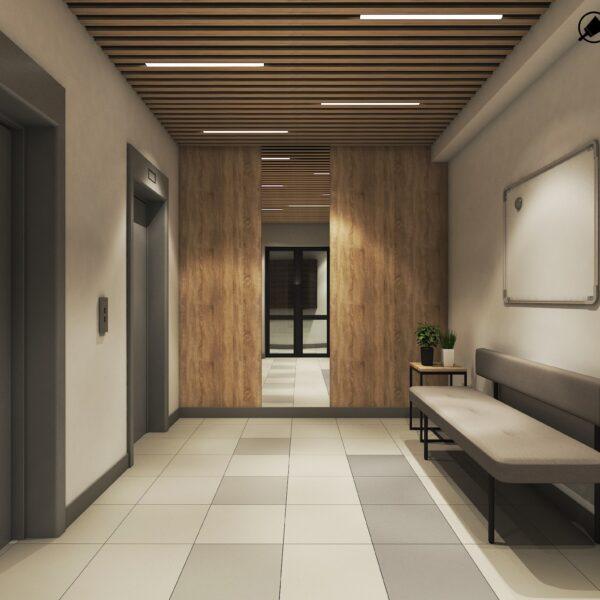 Дизайн интерьера холла жилого дома по пр. Науки, лифтовая зона вид спереди