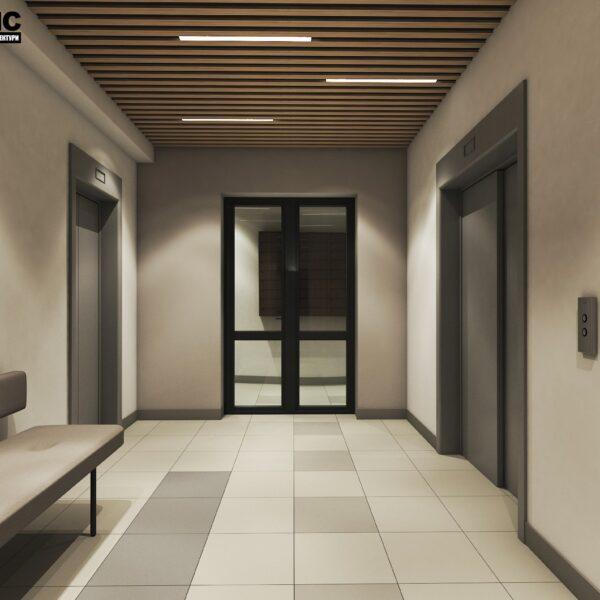 Дизайн интерьера холла жилого дома по пр. Науки, лифтовая зона вид сзади