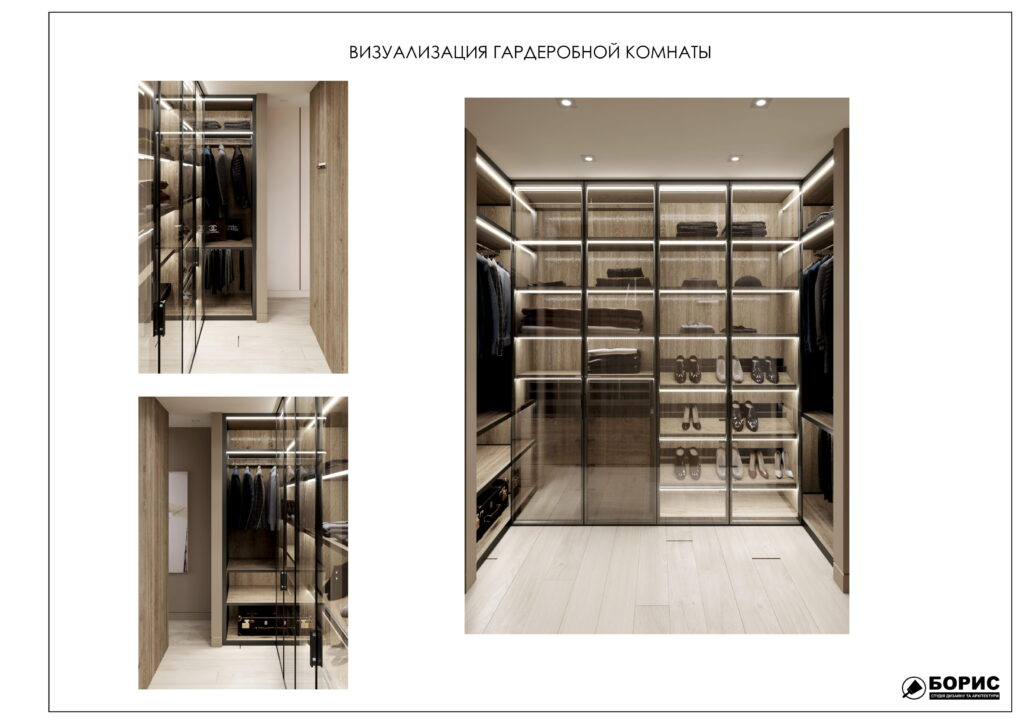 Состав дизайн-проекта интерьера, визуализация гардеробной