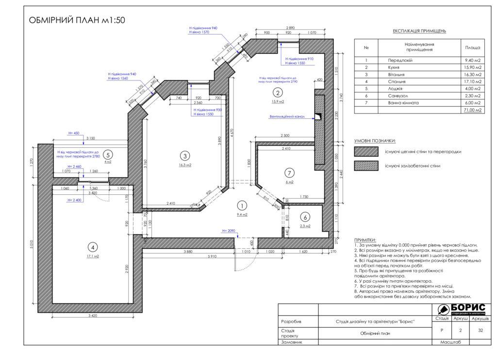 Склад дизайн-проекту інтер'єру, обмірний план