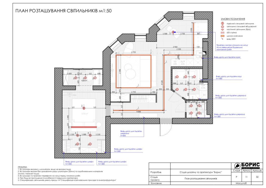 Склад дизайн-проекту інтер'єру, план освітлення
