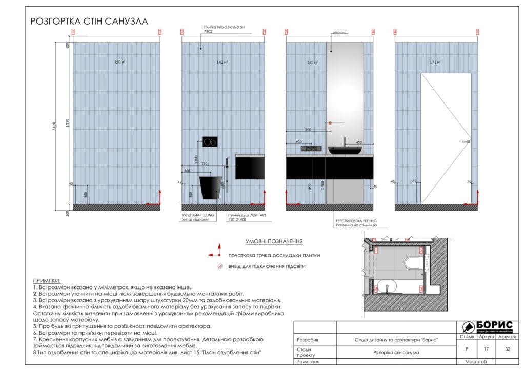 Склад дизайн-проекту інтер'єру, розгортка стін санвузла