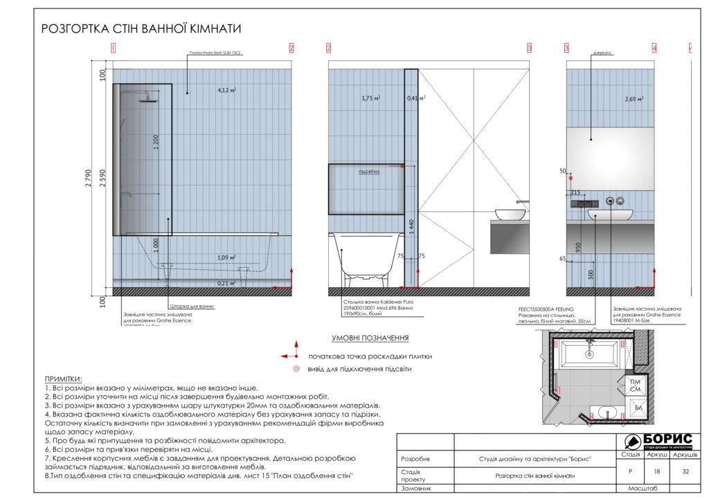 Склад дизайн-проекту інтер'єру, розгортка стін ванної кімнати