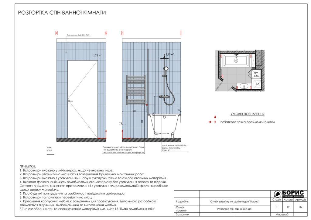 Склад дизайн-проекту інтер'єру, розгортка стін ванної кімнати, фото 2