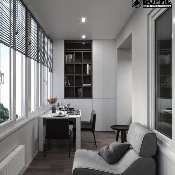 """Дизайн інтер'єру квартири ЖК """"Софія"""", балкон вид справа"""