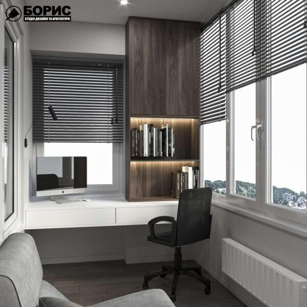 """Дизайн інтер'єру квартири ЖК """"Софія"""", балкон вид зліва"""