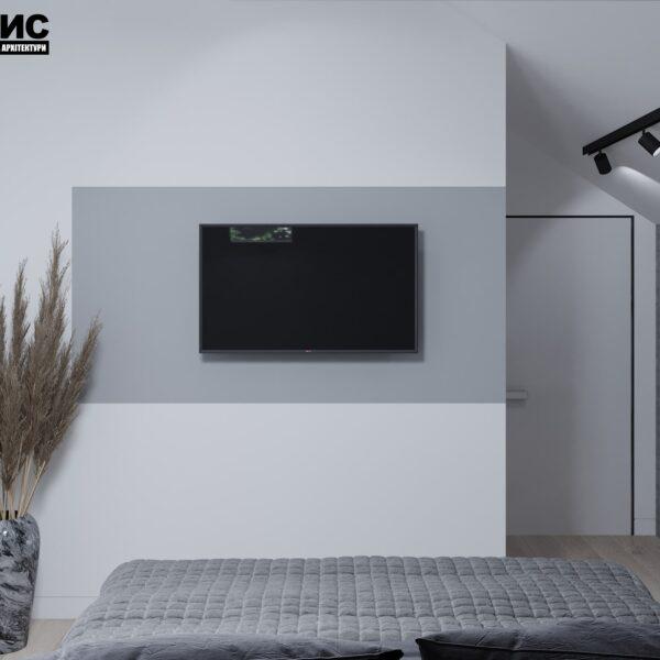 Дизайн интерьера двухэтажного дома г. Волчанск , спальня №2 вид сзади
