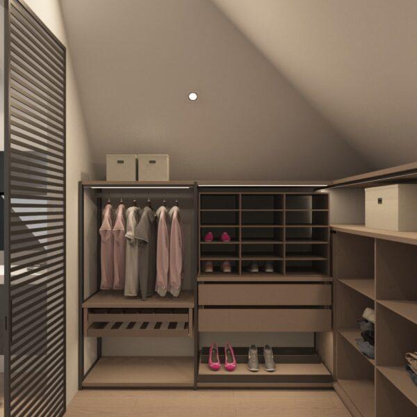 Дизайн интерьера двухэтажного дома г. Волчанск , гардеробная №2 вид слева