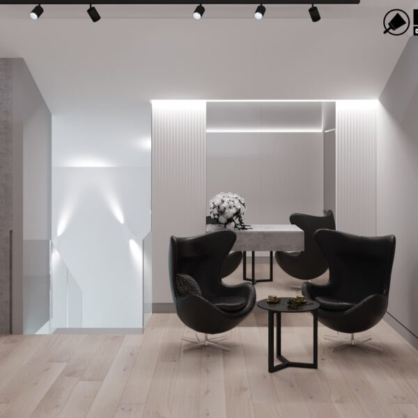 Дизайн интерьера двухэтажного дома г. Волчанск , холл вид сзади