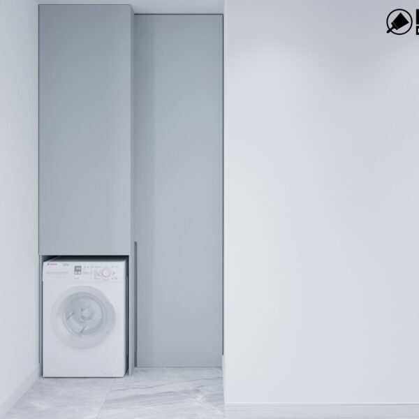 Дизайн інтер'єру двоповерхового будинку м. Вовчанськ, пральня вид справа