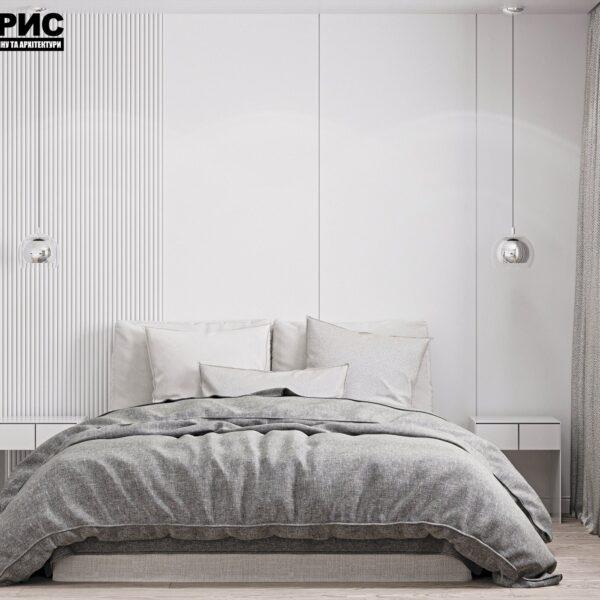 Дизайн интерьера двухэтажного дома г. Волчанск , спальня №1 вид спереди