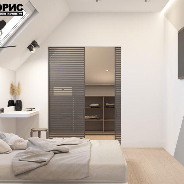 Дизайн інтер'єру двоповерхового будинку м. Вовчанськ, спальня №3 вид збоку