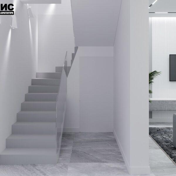 Дизайн інтер'єру двоповерхового будинку м. Вовчанськ, передпокій вид спереду
