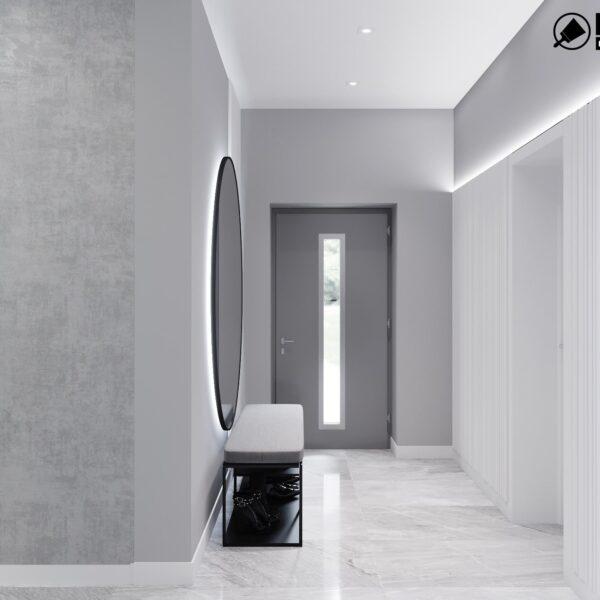 Дизайн интерьера двухэтажного дома г. Волчанск , прихожая вид сзади