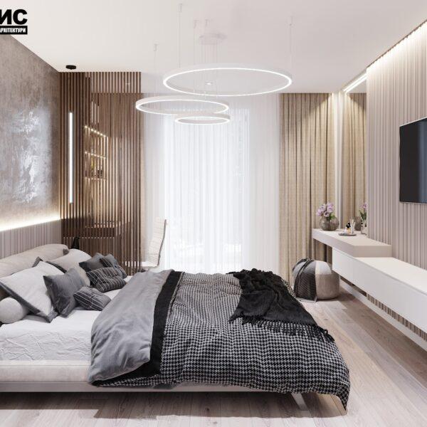"""Дизайн интерьера квартиры ЖК """"Сокольники"""", спальня вид справа"""