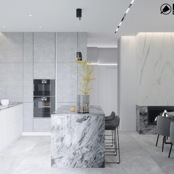 Дизайн интерьера двухэтажного дома г. Волчанск , кухня вид справа