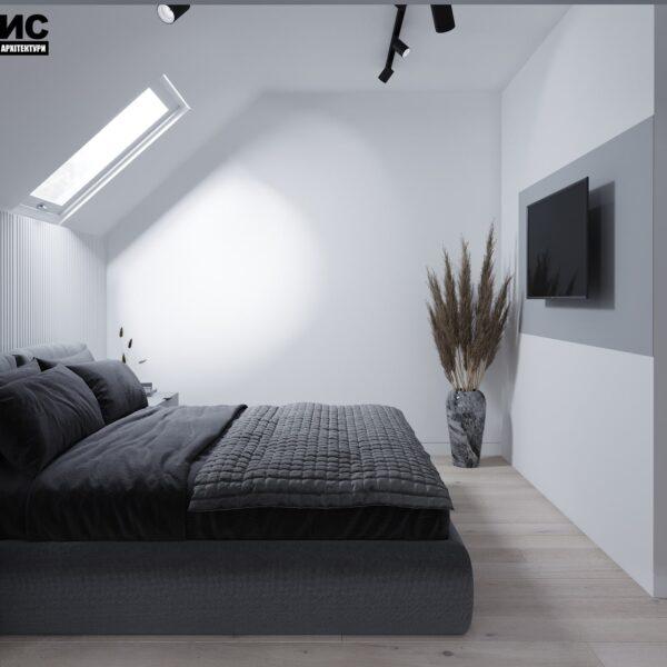 Дизайн інтер'єру двоповерхового будинку м. Вовчанськ, спальня №2 вид справа
