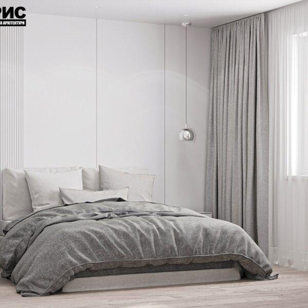 Дизайн интерьера двухэтажного дома г. Волчанск , спальня №1 вид сбоку