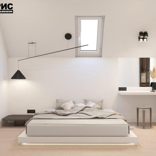 Дизайн интерьера двухэтажного дома г. Волчанск , спальня №3 вид спереди