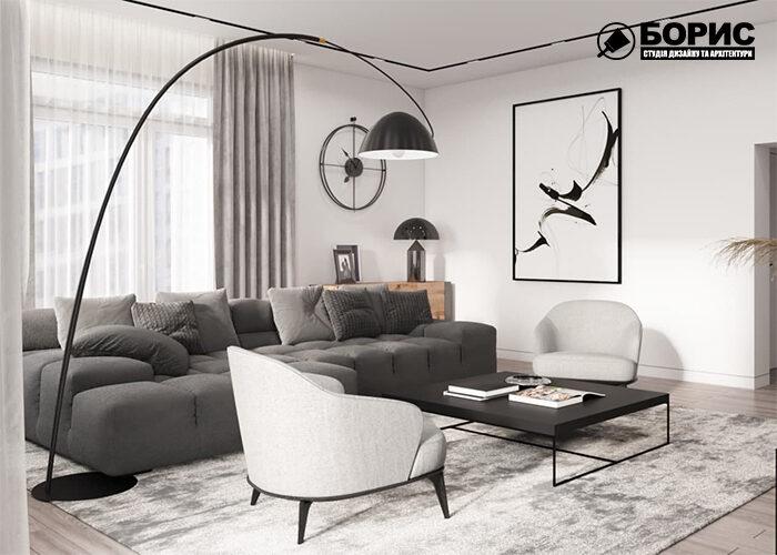 Дизайн інтер'єру двокімнатної квартири в Харкові, вітальня