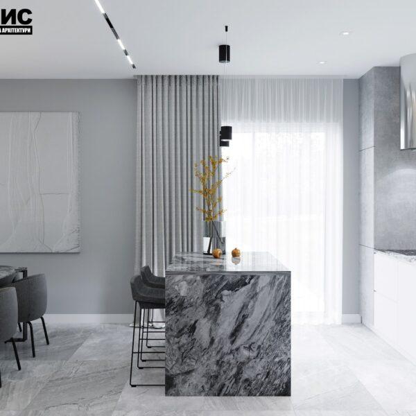 Дизайн интерьера двухэтажного дома г. Волчанск , кухня вид слева