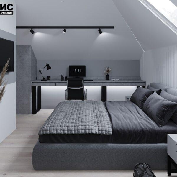 Дизайн интерьера двухэтажного дома г. Волчанск , спальня №2 вид слева