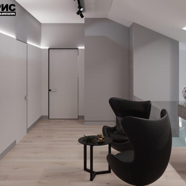 Дизайн интерьера двухэтажного дома г. Волчанск , холл вид справа