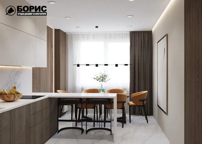 Дизайн трикімнатної квартири в Харкові, кухня