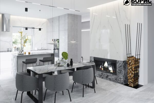 Дизайн интерьера двухэтажного дома г. Волчанск , кухня обеденный стол