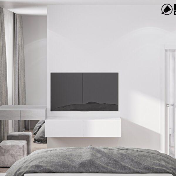Дизайн интерьера двухэтажного дома г. Волчанск , спальня №1 вид сзади