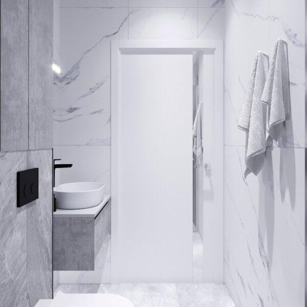 Дизайн интерьера двухэтажного дома г. Волчанск , санузел №1 вид сзади