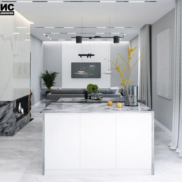 Дизайн интерьера двухэтажного дома г. Волчанск , кухня вид сзади