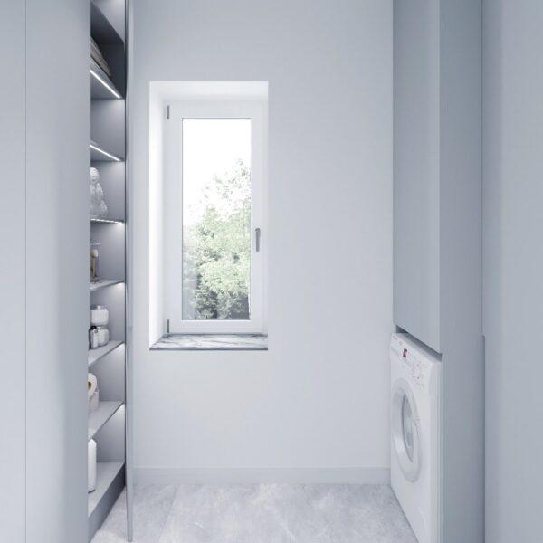 Дизайн інтер'єру двоповерхового будинку м. Вовчанськ, пральня вид спереду