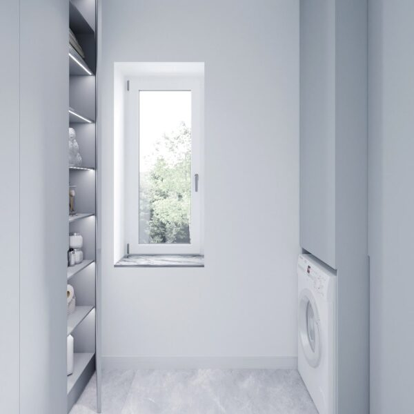 Дизайн интерьера двухэтажного дома г. Волчанск , прачечная вид спереди