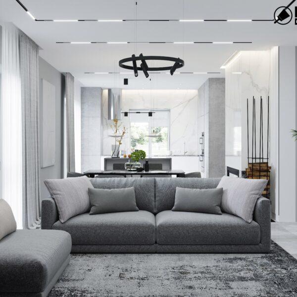 Дизайн интерьера двухэтажного дома г. Волчанск , гостиная вид спереди