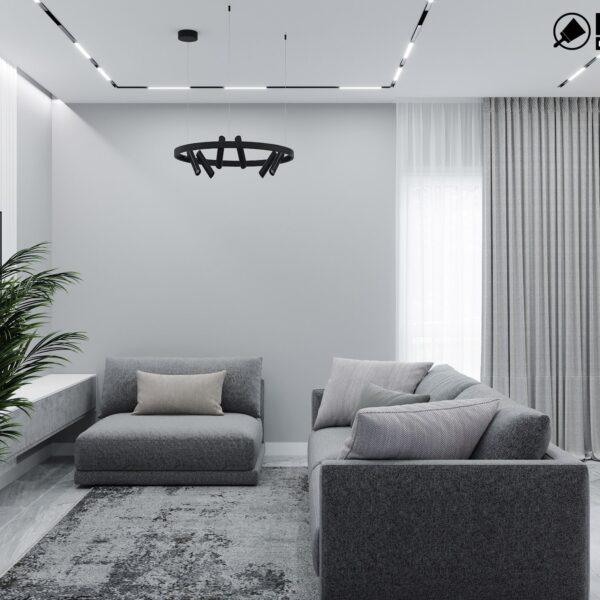 Дизайн интерьера двухэтажного дома г. Волчанск , гостиная вид сбоку