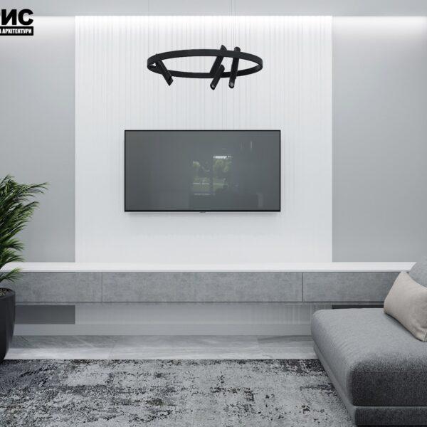 Дизайн интерьера двухэтажного дома г. Волчанск , гостиная вид сзади