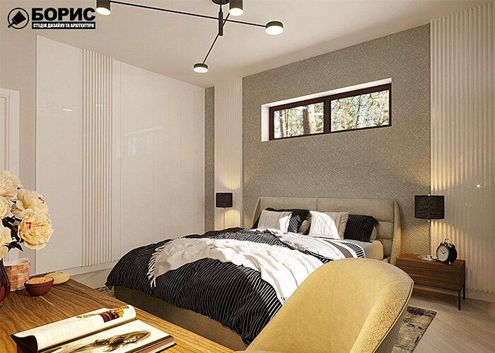 Спальня с современным ремонтом в коттедже.