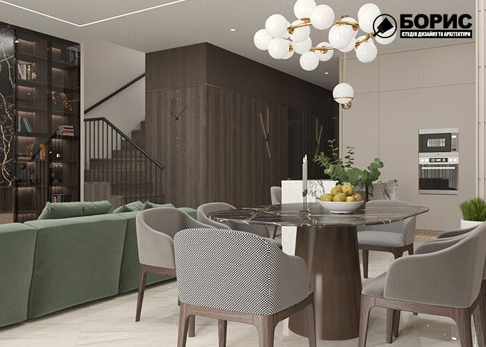 Визуализация интерьера в Харькове, гостиная-кухня