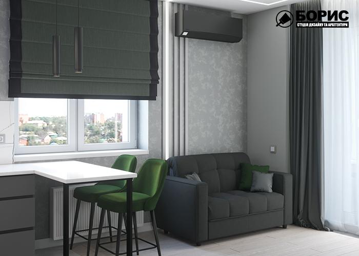 Дизайн однокімнатної квартири в Харкові,вітальня-кухня