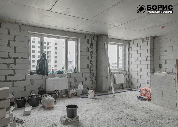 Ремонт квартири-студії в Харкові, чорнові роботи