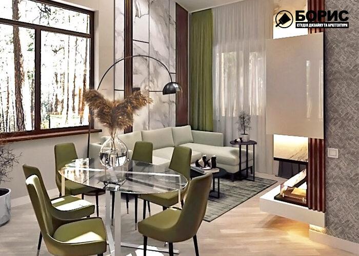 Дизайн інтер'єру будинку в Харкові, вітальня
